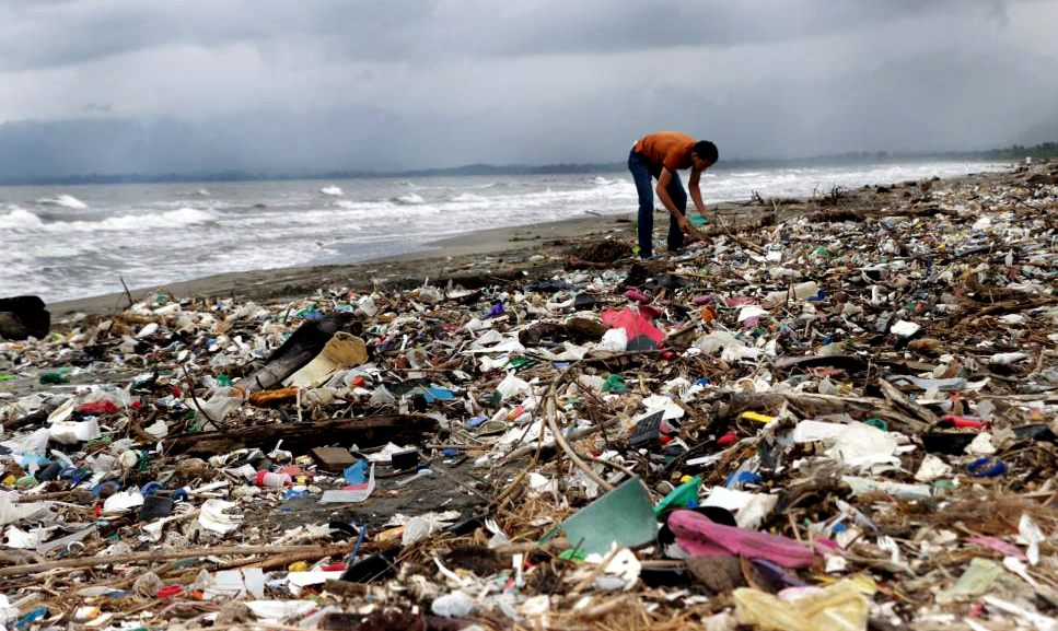 A Honduras beach littered with marine plastic